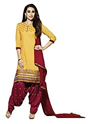 Sree Impex Women Heavy Cotton Semi Stitched Dress Material (SI-SK-51_Yellow_Free Size)