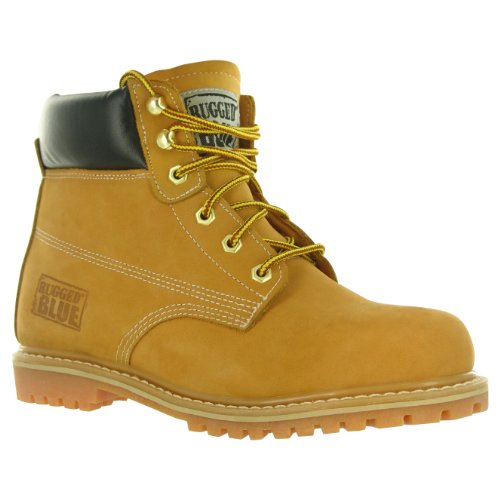 Rugged Blue MS001 Nubuck Leather Steel Toe Waterproof Mens Work Boot, Size 11M, Tan
