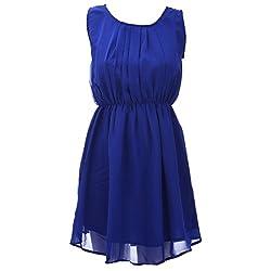 Xniva Georgette Blue Party Wear Dress For Women_L