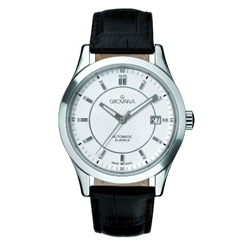 Grovana-Mens-Automatic-Swiss-Quartz-Stainless-Steel-and-Leather-Casual-Watch-ColorBlack-Model-1208-2532