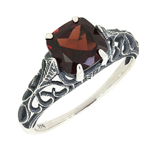 Antique Finished Sterling Silver Cushion Cut Genuine Mozambique Garnet Filigree Ring (2 1/5 CT.T.W) (Sterling Silver Garnet Ring compare prices)