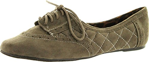 pictures of Not Rated Womens Stellar Style Oxford Flats Shoes,Taupe,7.5