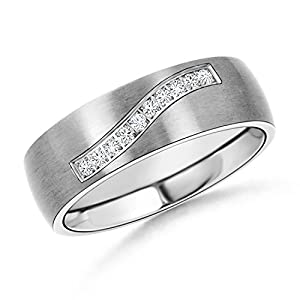 Satin Finish Diamond Men's Wedding Band in 14K White Gold