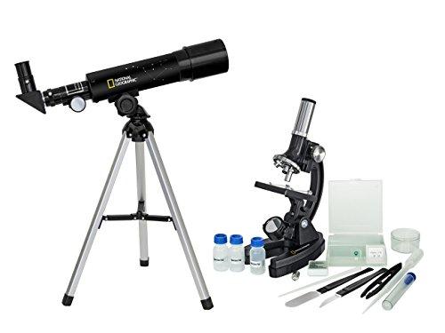 National Geographic Telescopi Set Telescopio + Microscopio (Composto Da Telescopio 50/360 + Miscoscopio 300X-1200X) nero-silver