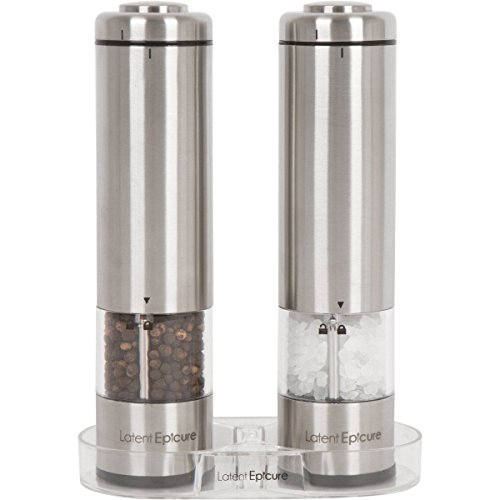 Salt and Pepper Grinder Set - Battery Operated with FREE BONUS Mill Rest | Pack of 2 Mills with 12 Month Warranty | LED Light | Adjustable Coarseness | Gift Box