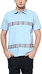 Y.U.V.I. Men's Cotton Slim Fit Casual Shirt (11123060-XL, Light Blue, X-Large)
