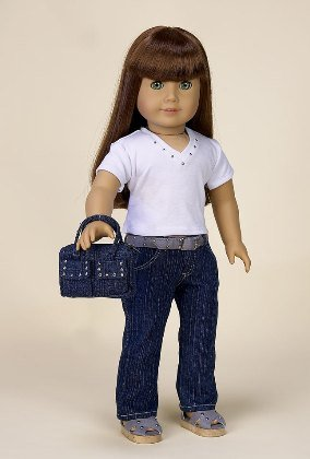 White Top and Jeans. Complete Outfit with Shoes! Fits 18 inch dolls
