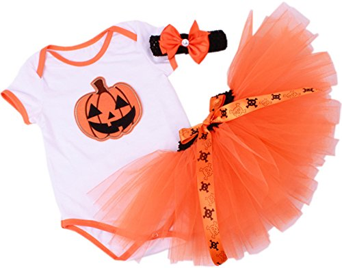 CAKYE® Baby Girls' My First Halloween Outfits Pumpkin Tutu Dress Set