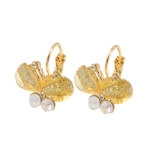 Rosallini Lady Rhinestone Decor Clear Yellow Butterfly Eardrop Pierced Earrings Pair