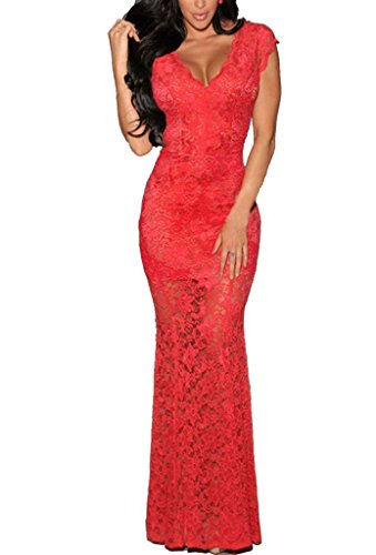 Zkess Women's Short Sleeves Prom Ball Evening Gowns Lace Long Dress One Size Red