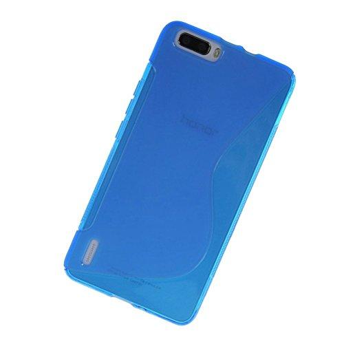 2点セットHuawei honor6 Plus TPU グリップカバーケース [ ファーウェイ SIMフリー スマートフォン / 楽天モバイル 対応 ] 薄型軽量 / 滑止め加工 / ソフトフィットモデル / 半透明クリア + 液晶保護フィルムMY WAY 出品カラー全6色:簡易防水パッケージ (HUAWEI honor6 Plus, Design S Blue (青))
