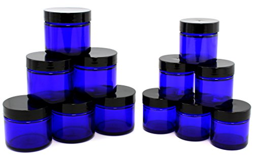 Combination 12 Pack of Cobalt Blue 1oz & 2oz Glass Straight Sided Jars, Lids Included; Empty Refillable Containers for Cosmetics, Creams, Lotions, Essential Oils (6 of Each) (Glass Makeup Jars With Lids compare prices)