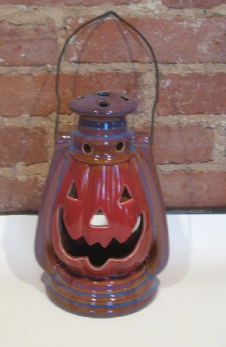 Fire Glazed Stoneware Pumpkin Lantern with Handle