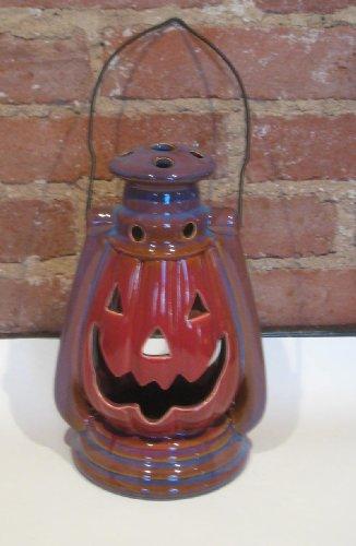 Fire Glazed Stoneware Pumpkin Lantern with Handle