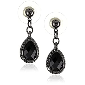 1928 Jewelry Black Victorian Mini Teardrop Earrings