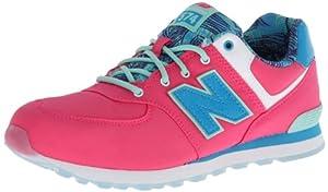 New Balance KL574 Grade Lace-Up Running Shoe (Big Kid),Pink/Blue,6 W US Big Kid
