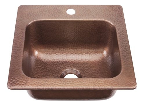 ECOSINKS KPD-1515HA Dual Mount Solid Copper 1-Hole Single Bowl kitchen Sink, Hammered Antique