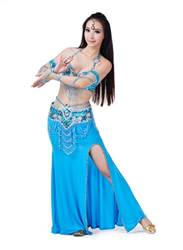 Dreamspell 2014 Women Sexy Light Blue Dancing Coctumes 3pcs Belly Dance