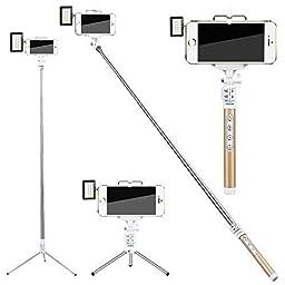 Selfie Stick,Zonman® High Quality Extendable Wireless Bluetooth Selfie Stick + Mini Led Light 4 Mode Adjustable Phone Holder for Smart Phone(Golden+LED)