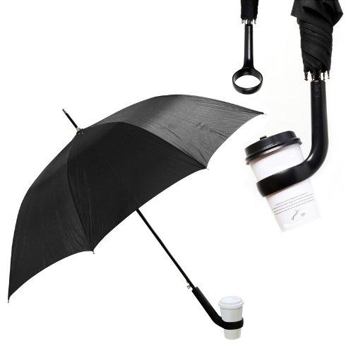 カフェブレラ カフェホルダー付き傘 親骨60cm (ブラック)