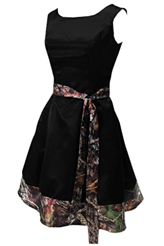 Ivydressing Women's Short Mini Camouflage Ribbon Black Prom Party Dress-16