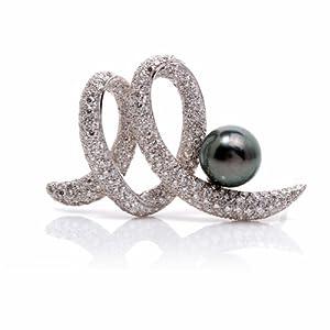Estate 10ct Diamond Swirl Pearl Gold Pin Brooch