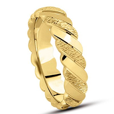 RCL522MW 4.0 Millimeters 14Kt Yellow Gold Wedding Band Ring with Florentine Finish and Rope Design, Finger Size 9