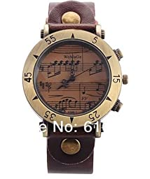 Retro Style Unique Design Music staff Men Women\'s Vintage Watch PU leather Band - Brown