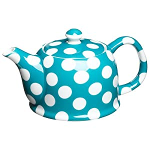 Yedi Houseware Classic Coffee and Tea White Dots 20 Ounce Teapot, Turquoise Blue