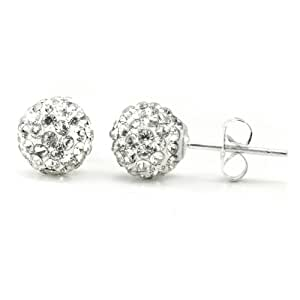 White Crystal Ball 8MM Round Sterling Silver Stud Earrings