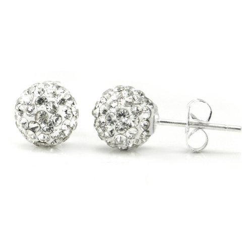 Swaroski White Crystal Ball 8MM Round Sterling Silver Stud Earrings