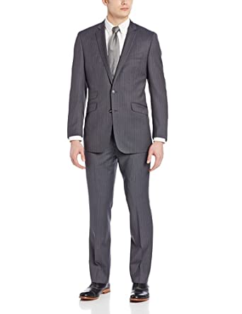 Ben Sherman Men's Two-Piece Two Button Suit, Grey, 38 Regular