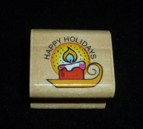 Happy Holidays Candle Rubber Stamp - 1