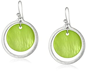 "Kenneth Cole New York ""Shell Brilliance"" Lime Green Shell Orbital Drop Earrings"