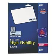 High-Visibility Laser Labels, 1 x 2-5/8, Pastel Blue, 750/Pack