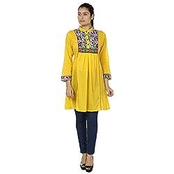 Ru-Ru Women's Cotton Tunic (Zrtu-05-36_Yellow & Red_36)