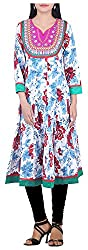 BleuIndus Women's Cotton Straight Kurta (KRT-365_S, Multi-Coloured, S)