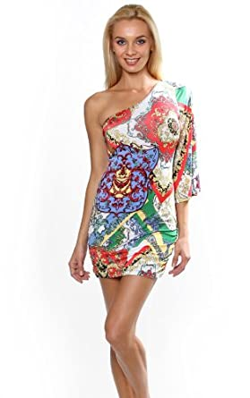 Sexy Club wear Clubbing Party Dress Multi Color Paisley Print Kimono One Sleeve Mini-Multi-Large