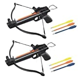 2 Pack 50 Lb Crossbow Gun Pistol Hand Held Archery Hunting Cross Bow w/ Arrows