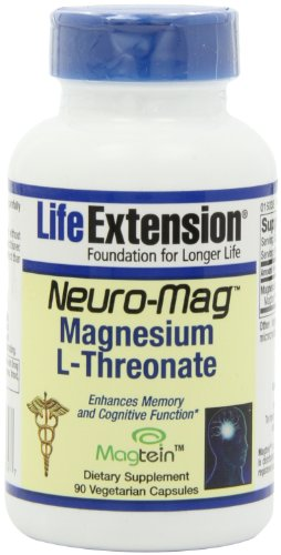 Life Extension Neuro-Mag Magnesium L-Threonat Vegetarian Capsules, 90 Count