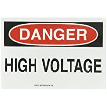 "Brady 84877 10"" Height, 14"" Width, B-302 High Performance Polyester, Black And Red On White Color Admittance Sign, Legend ""Danger, High Voltage"""