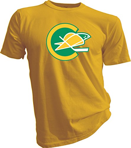 New Hockey Men Tee T Shirt Size X-large Yellow Defunct NHL KHL Wild California Golden Seals Vintage and Retro Look Clothing or Apparel (California Golden Seals Jersey compare prices)