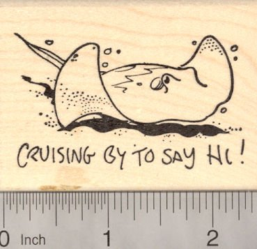 Stingray Rubber Stamp, Cruising by to say Hi! Ray