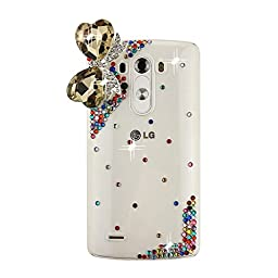 LG G Stylo Bling Case - Fairy Art Luxury 3D Sparkle Series Heart Bowknot Crystal Design Back Cover with Soft Wallet Purse Red Cloth Pouch - Colorful