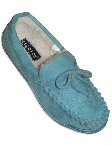 Image of Goldtoe - Ladies Moccasin Slipper, Turquoise 28058 (B006BDTNTO)