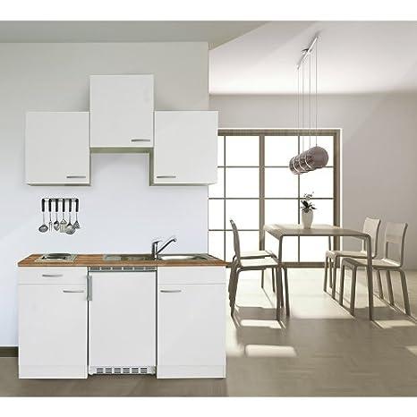 respekta KB150WW Single Kuche Kuchenzeile Kuchenblock 150 cm WEISS mit Einbaukuhlschrank, Einbauspule, Kochmulde