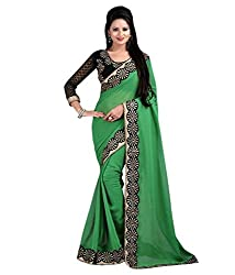 Women's Exclusive Green Lace Border Work Sari with Blouse
