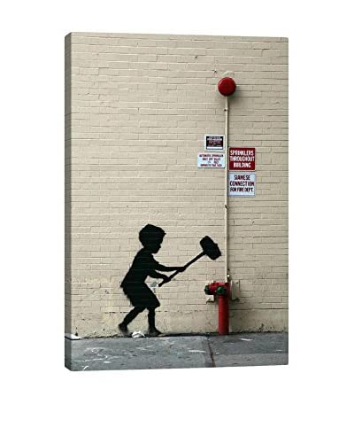 Banksy Hammer Boy Gallery Wrapped Canvas Print