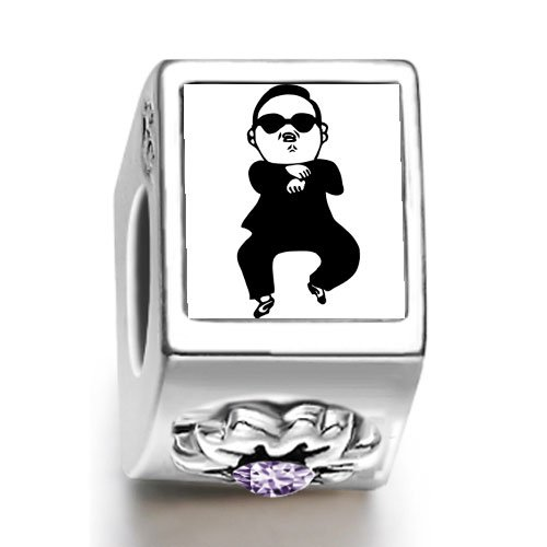 Burning Love Gangnam Style Dance Guy Black Glass February Birthstone Photo Flower Charm Beads