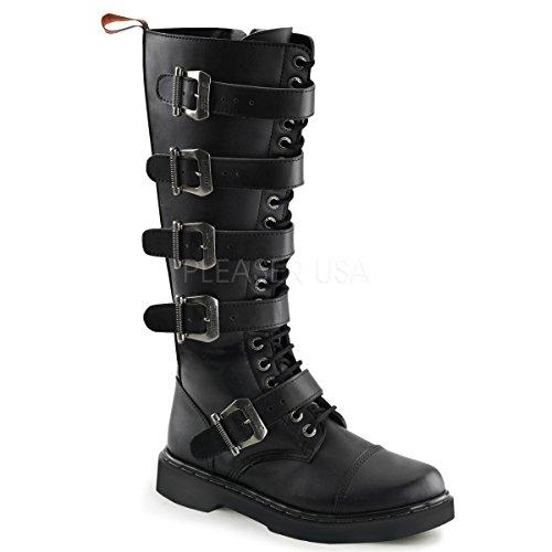 Demonia Unisex Defiant 420 Combat Boots, Black Vegan Leather, 9 M